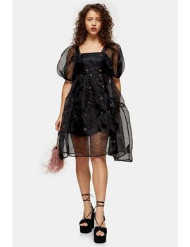 Petite Black Embroidered Organza Tiered Dress by Topshop