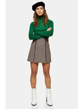 Petite Cream Check Binding Mini Skirt by Topshop