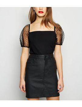 Petite Black Spot Organza Sleeve Top by New Look