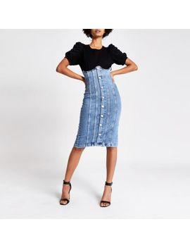 Blue High Corset Waist Denim Skirt by River Island