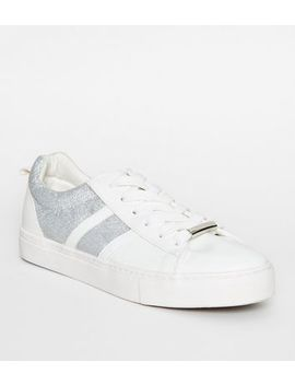 White Leather Look Glitter Lace Up Trainers by New Look
