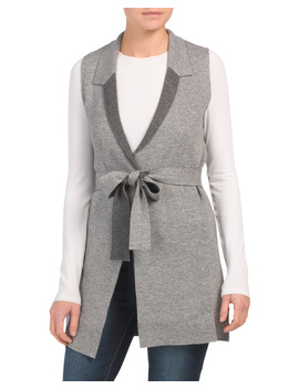 Cashmere Blend Double Faced Belted Vest by Tj Maxx