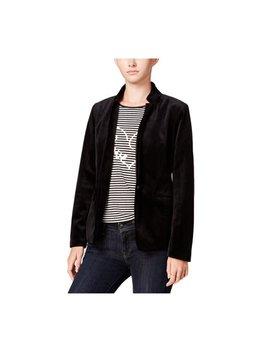 Maison Jules Womens Velvet Blazer Jacket Deepblack 0 by Walmart