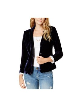 Kensie Womens Velvet One Button Blazer Jacket Cl5 S by Walmart