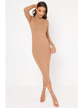 Camel Roll Neck Long Sleeve Ribbed Midaxi Dress by I Saw It First