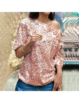 Women Loose Off Shoulder Sequin Glitter Blouses Summer Casual Shirts Vintage Streetwear Tops Pink/Silver by Walmart