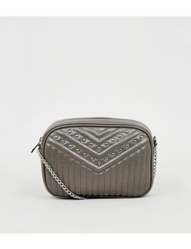 Grey Quilted Leather Look Studded Camera Bag by New Look
