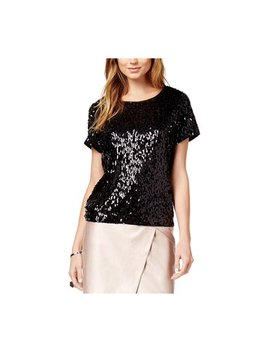 Bar Iii Womens Sequined Mesh Pullover Blouse Deepblack L by Walmart
