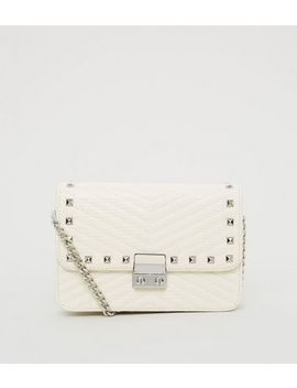 Off White Stud Quilted Shoulder Bag by New Look