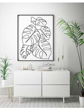 Printable Monstera Leaves, Botanical Line Art, Drawing Leaf, Tropical Wall Decor Print, Minimalist Black White Nature, Palm Leaf Poster by Etsy