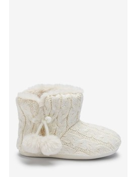 Ecru Knitted Slipper Boots (Older) by Next