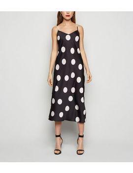 Black Spot V Neck Slip Dress by New Look
