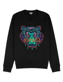 Icon Black Tiger Embroidered Cotton Sweatshirt by Kenzo