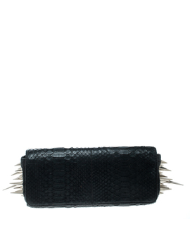 Christian Louboutin Black Python Marquise Spiked Clutch by The Luxury Closet