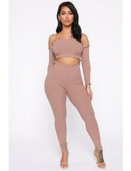 Totally Ribbed Set   Taupe by Fashion Nova