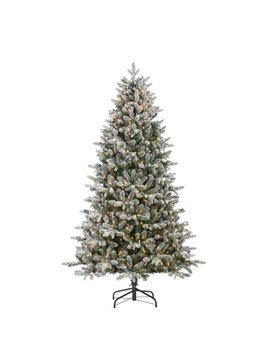Gerson 7.5 Ft. Flocked Natural Cut Swiss Mountain Fir With 800 Clear Lights by Sterling