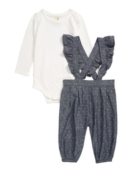 Polka Dot Ruffle Overalls & Bodysuit Set by Tucker + Tate