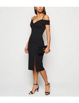 Black Bardot Side Split Midi Dress by New Look