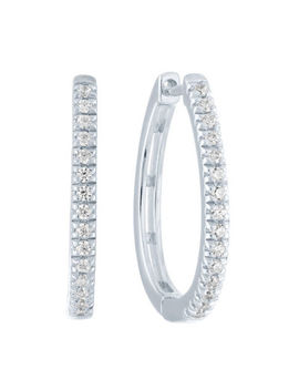 1/4 Ct. T.W. Genuine Diamond Sterling Silver 19.7mm Hoop Earrings by Fine Jewelry