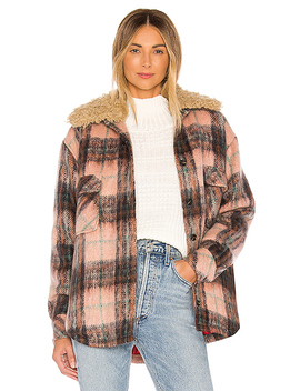 Faux Fur Collar Workwear Jacket In Buff Plaid by Smythe