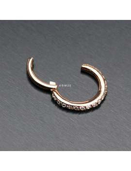Rose Gold Brilliant Sparkle Gems Lined Clicker Hoop Ring by Etsy
