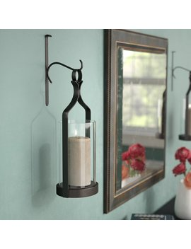 Black Tall Glass Wall Sconce by Three Posts