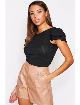 Plunge Back Ruffle Sleeve Bodysuit Plunge Back Ruffle Sleeve Bodysuit by Misspap