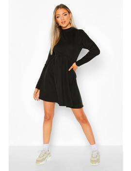 High Neck Long Sleeve Smock Sweatshirt Dress by Boohoo
