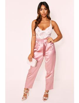 Satin High Waisted Belted Cigarette Pant Satin High Waisted Belted Cigarette Pant by Misspap