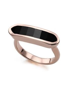 18 K Rose Gold Vermeil Black Onyx Baja Ring by Monica Vinader