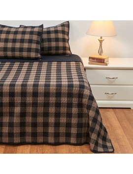 Pendleton Buffalo Trail Plaid Cotton Quilt   Twin, Taupe by Pendleton