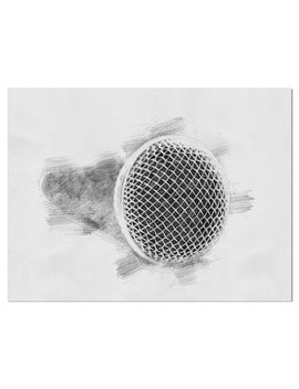 Music 'microphone In Pencil Sketch' Drawing Print On Wrapped Canvas by East Urban Home