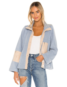 Calli Contrast Fleece Jacket In Dusty Blue by Line & Dot