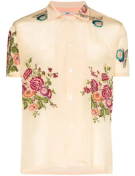 Floral Embroidered Bowling Shirt by Bode