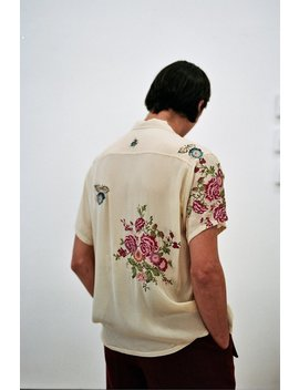 Bode Needle Point Embroidered Bowling Shirt   Floral by Garmentory
