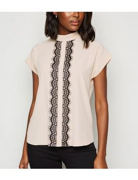 Pale Pink Lace Panel Roll Neck Top by New Look