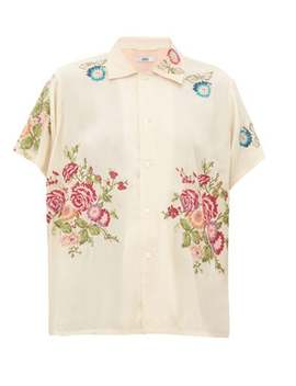 Needle Point Floral Embroidered Satin Shirt by Bode
