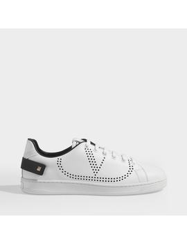 Low Sneakers With Go Logo Detail In White And Black Leather by Valentino Garavani