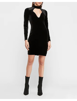 Mock Neck Cut Out Front Bodycon Dress by Express