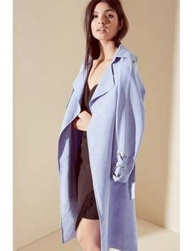 Girls On Film Blue Soft Touch Trench Coat by Little Mistress