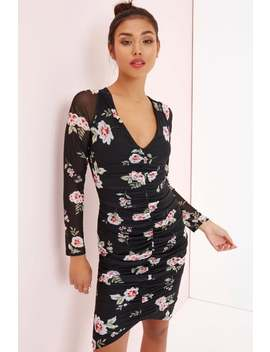 Girls On Film Floral Bodycon Dress by Little Mistress