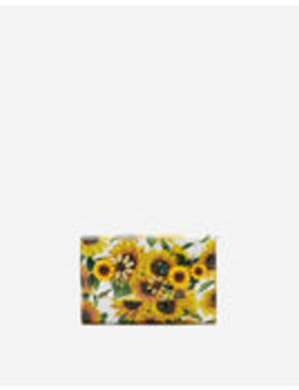 Wallet Bag In Sunflower Print Dauphine Calfskin With Embroidery by Dolce&Gabbana