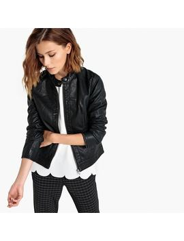 Faux Leather Bomber Jacket With Zip by Jacqueline De Yong