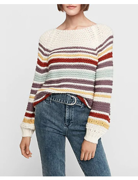 Striped Balloon Sleeve Sweater by Express
