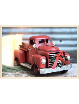 Stubby Red Truck With Wreath by The Holiday Aisle