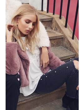 Girls On Film Rose Fur Jacket by Little Mistress