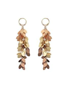 Aadiv Metallic Sequin Petal Mini Drop Huggie Earrings by Olivar Bonas