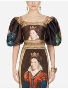 Renaissance Style Top In Queen Print Mikado by Dolce&Gabbana