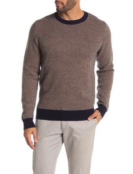 3 Color Jacquard Cashmere Crew Neck Sweater by Quinn