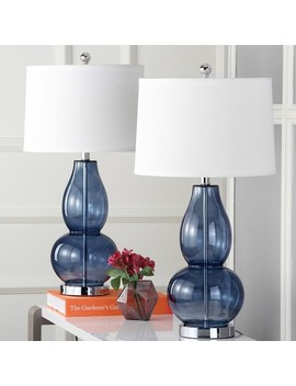 "Safavieh Lighting 28.5 Inch Mercurio Blue Double Gourd Lamp (Set Of 2)   15"" X 15"" X 28.5"" by Safavieh"